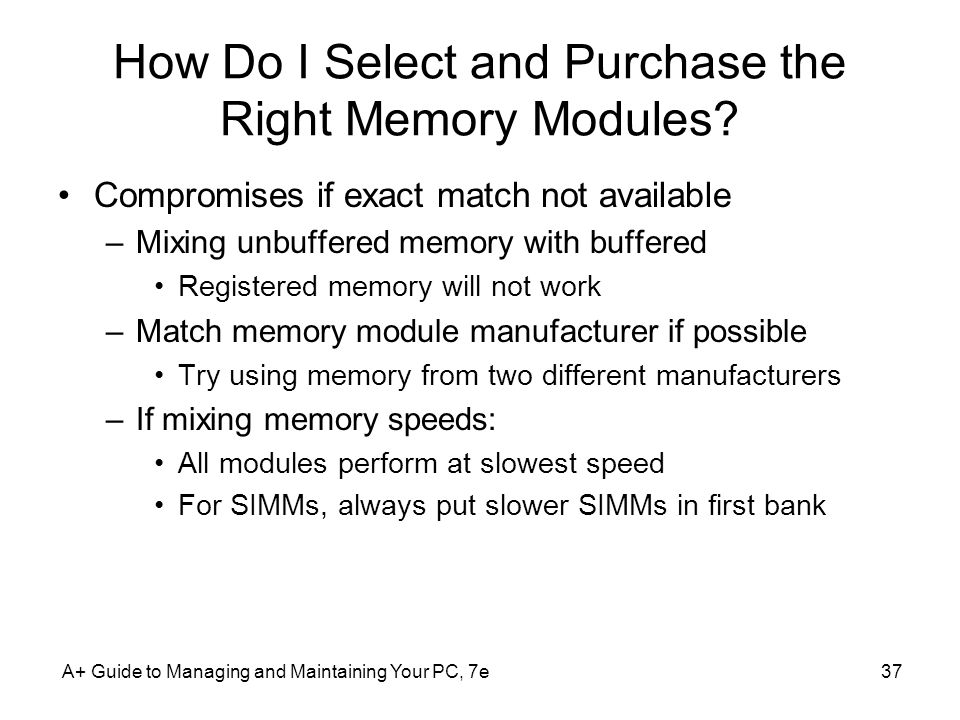 How Do I Select and Purchase the Right Memory Modules