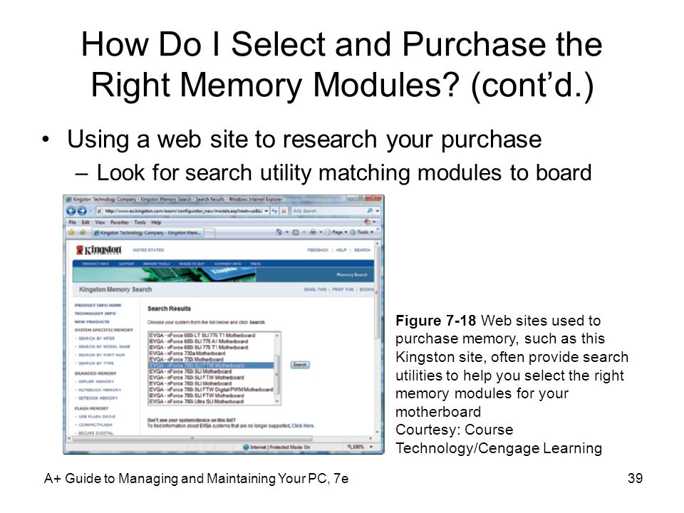 How Do I Select and Purchase the Right Memory Modules (cont'd.)