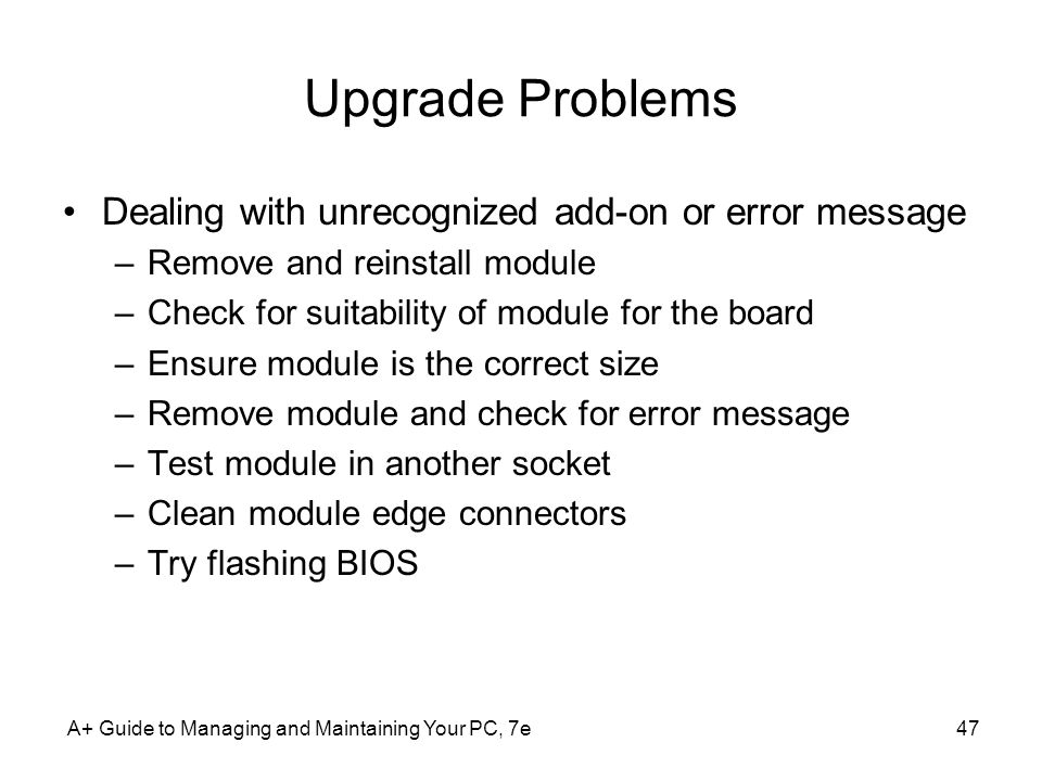 Upgrade Problems Dealing with unrecognized add-on or error message
