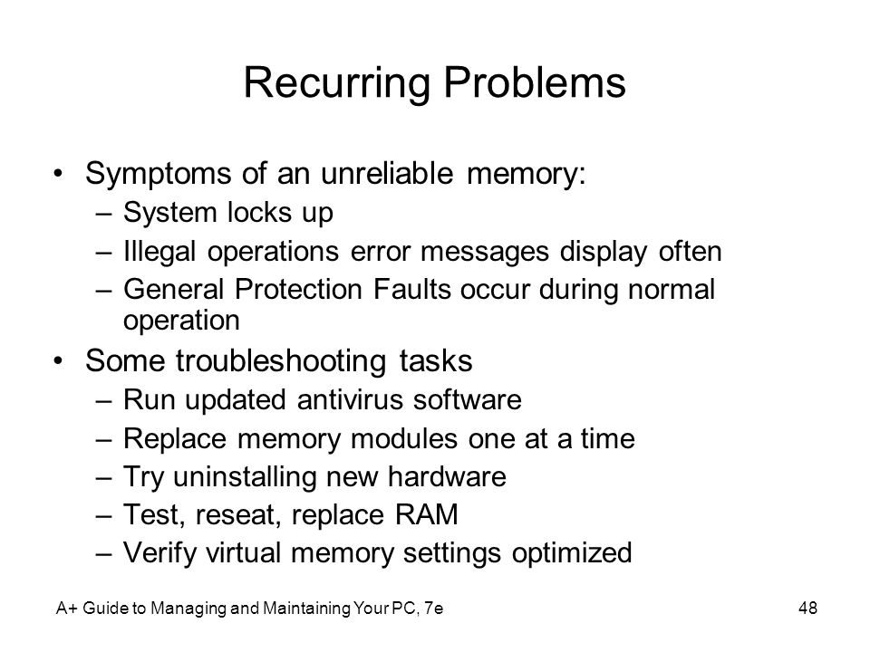 Recurring Problems Symptoms of an unreliable memory: