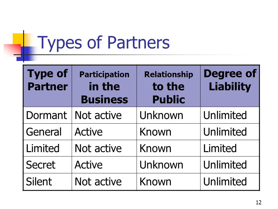 What are the different types of partners in a partnership firm ?