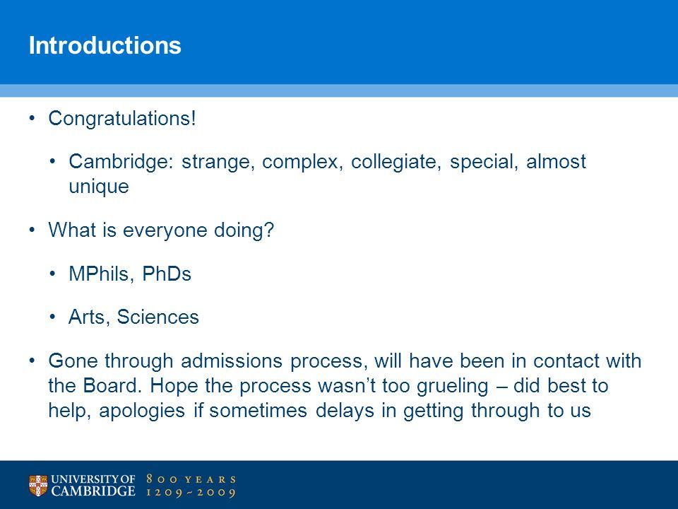 Introductions Congratulations!