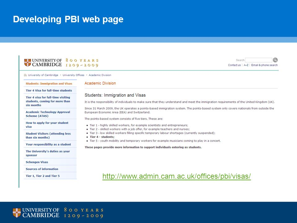 Developing PBI web page