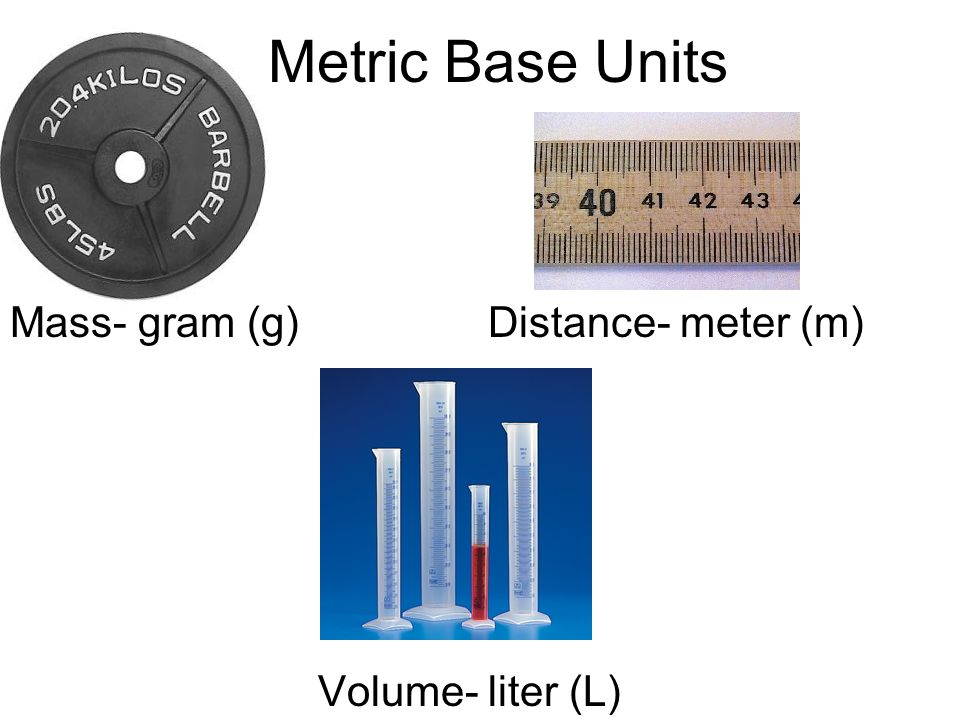 Metric Base Units Mass- gram (g) Distance- meter (m) Volume
