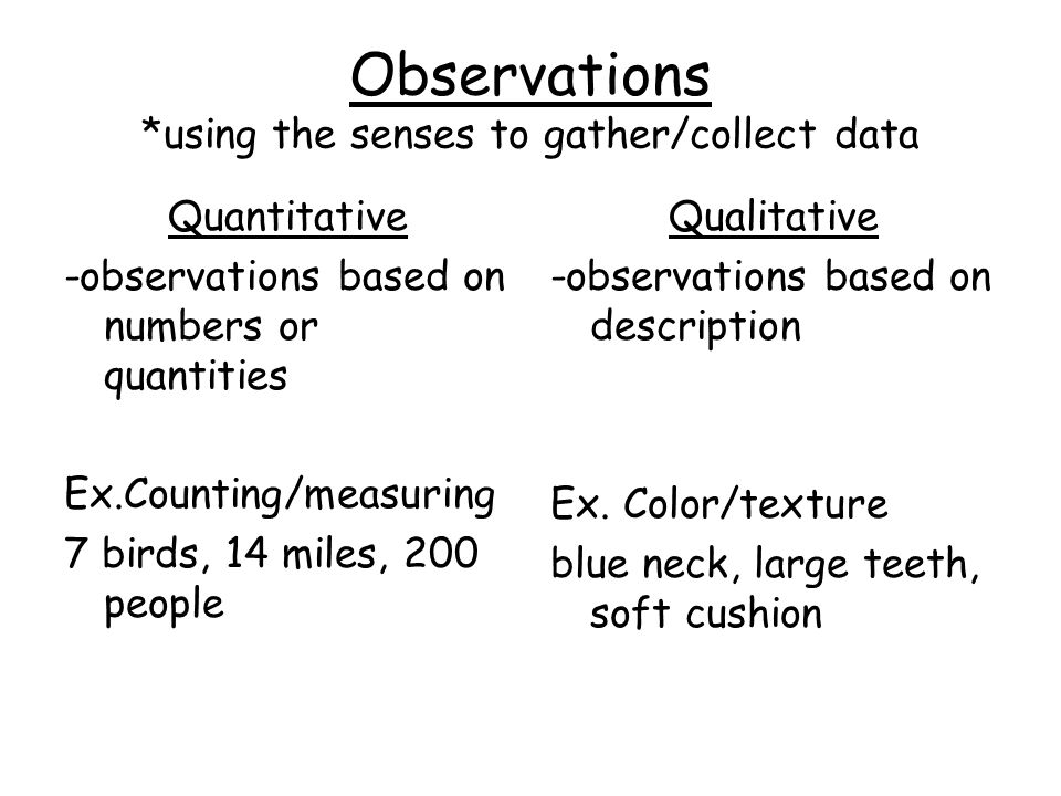Observations *using the senses to gather/collect data