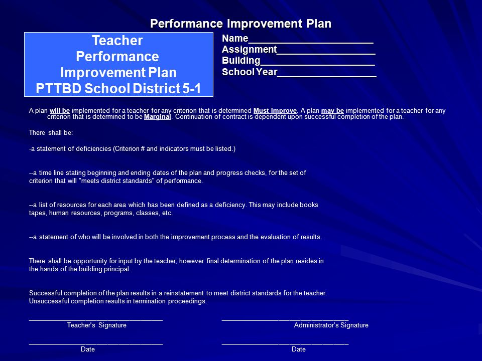 25 Performance Improvement Plan  Performance Improvement Plan Definition