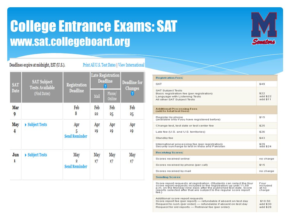 College Entrance Exams: SAT www.sat.collegeboard.org