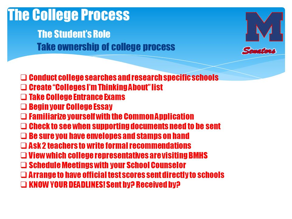 The College Process. The Student's Role