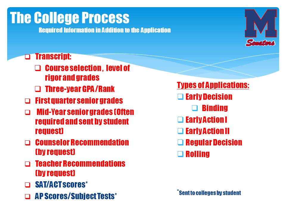 The College Process Required Information in Addition to the Application