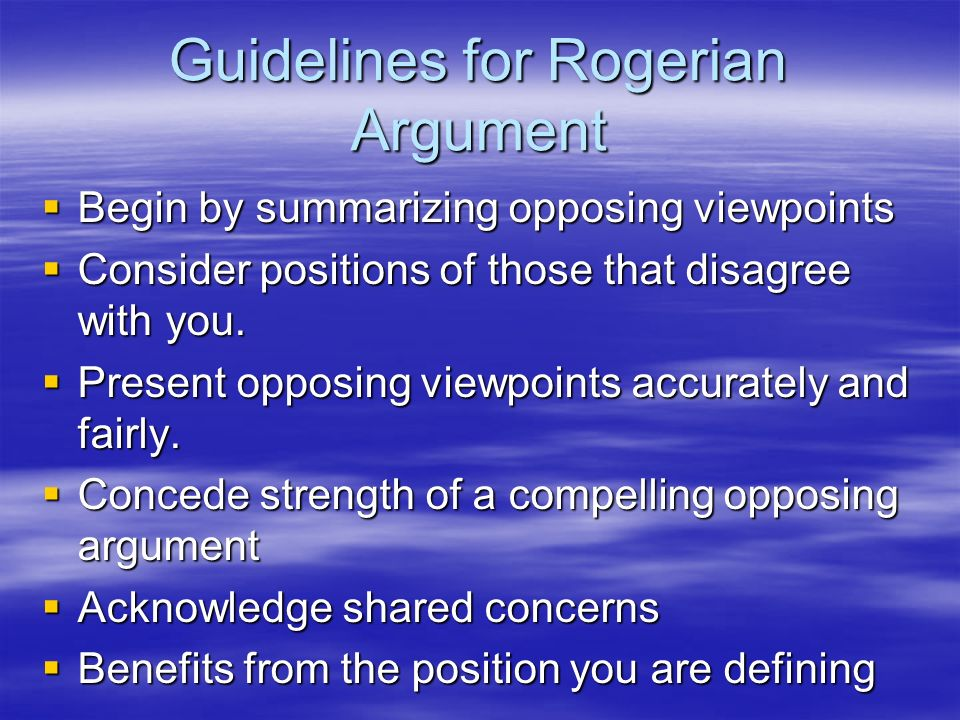 Guidelines for Rogerian Argument