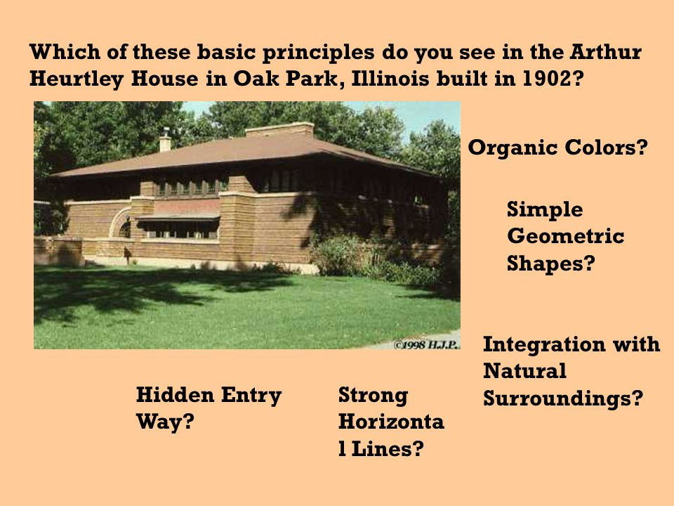 Which of these basic principles do you see in the Arthur Heurtley House in Oak Park, Illinois built in 1902