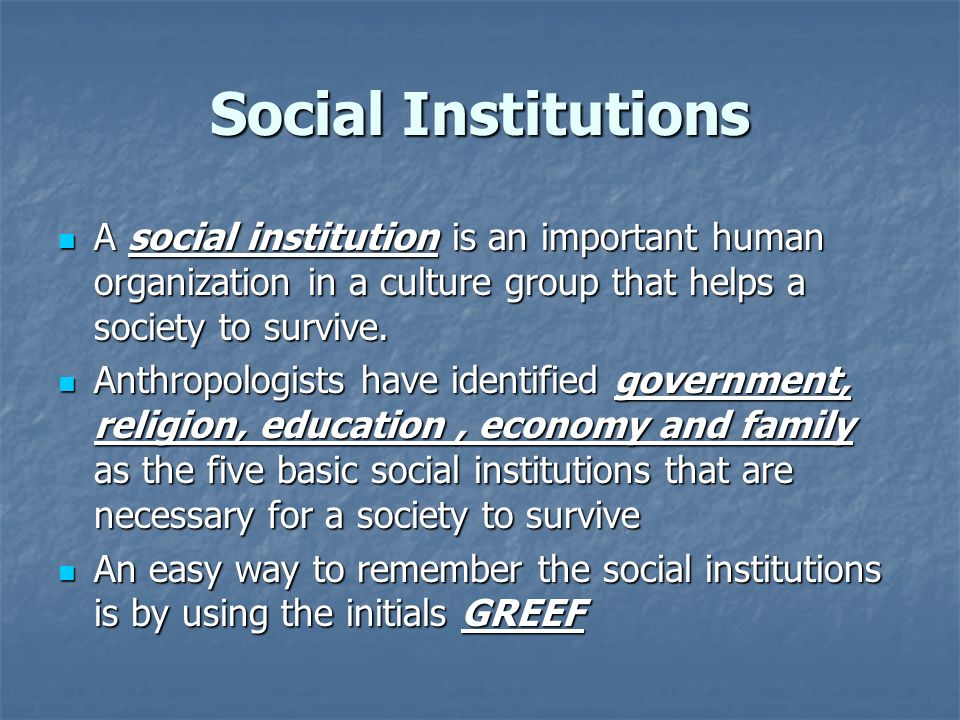 Social Institutions A social institution is an important human organization in a culture group that helps a society to survive.
