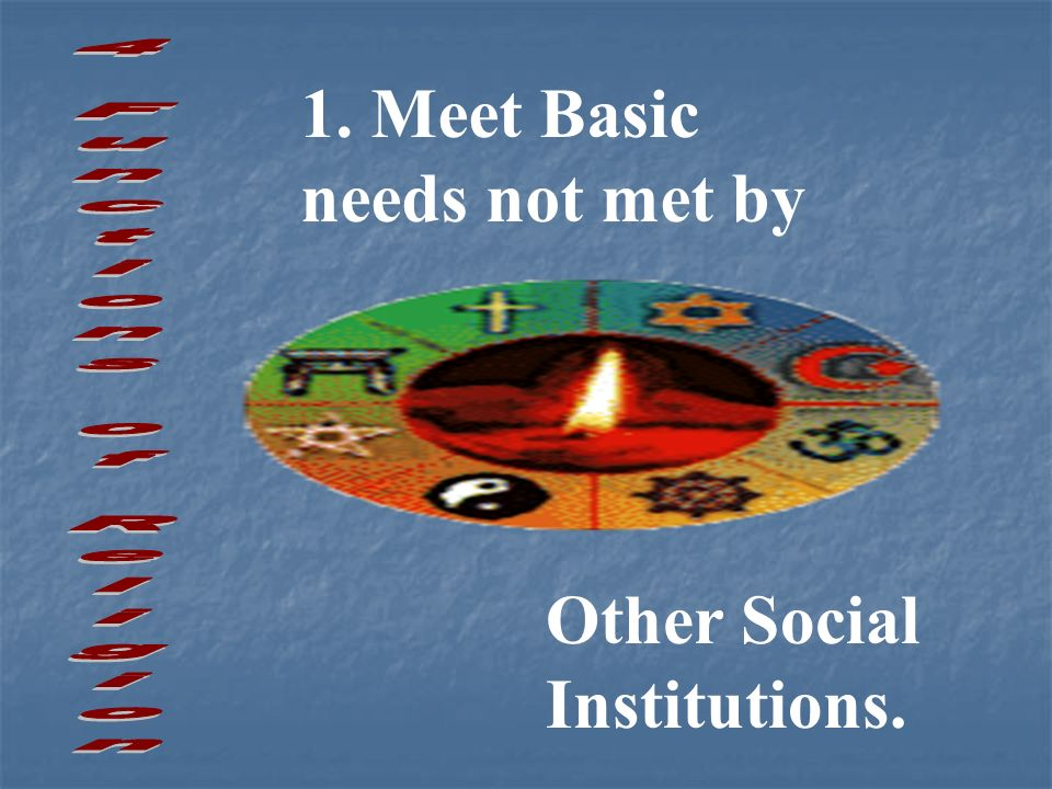 1. Meet Basic needs not met by Other Social Institutions.