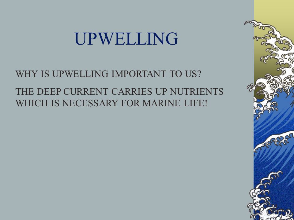 UPWELLING WHY IS UPWELLING IMPORTANT TO US