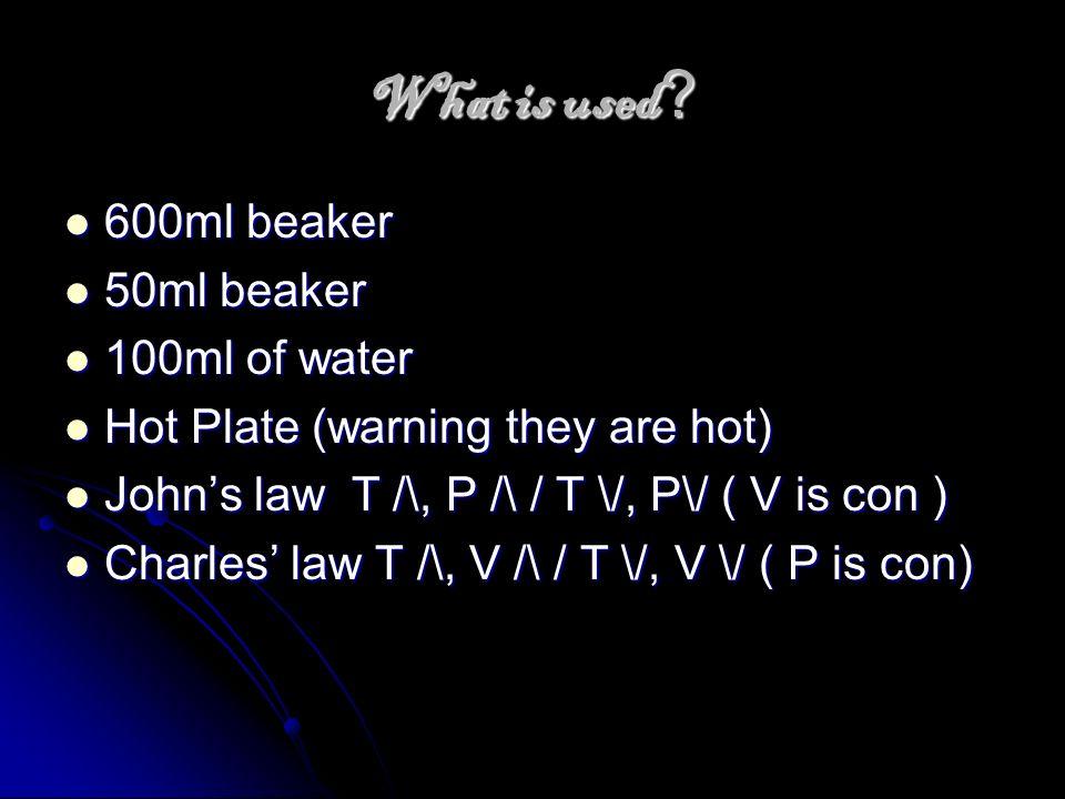 What is used 600ml beaker 50ml beaker 100ml of water