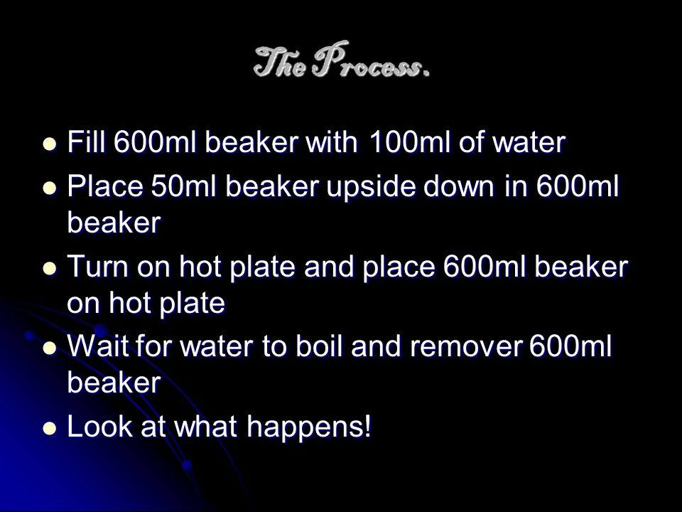 The Process. Fill 600ml beaker with 100ml of water