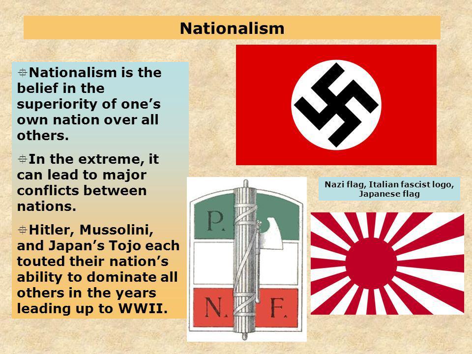 Nazi flag, Italian fascist logo, Japanese flag