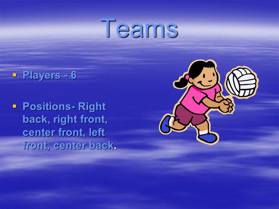 Teams Players - 6 Positions- Right back, right front, center front, left front, center back.