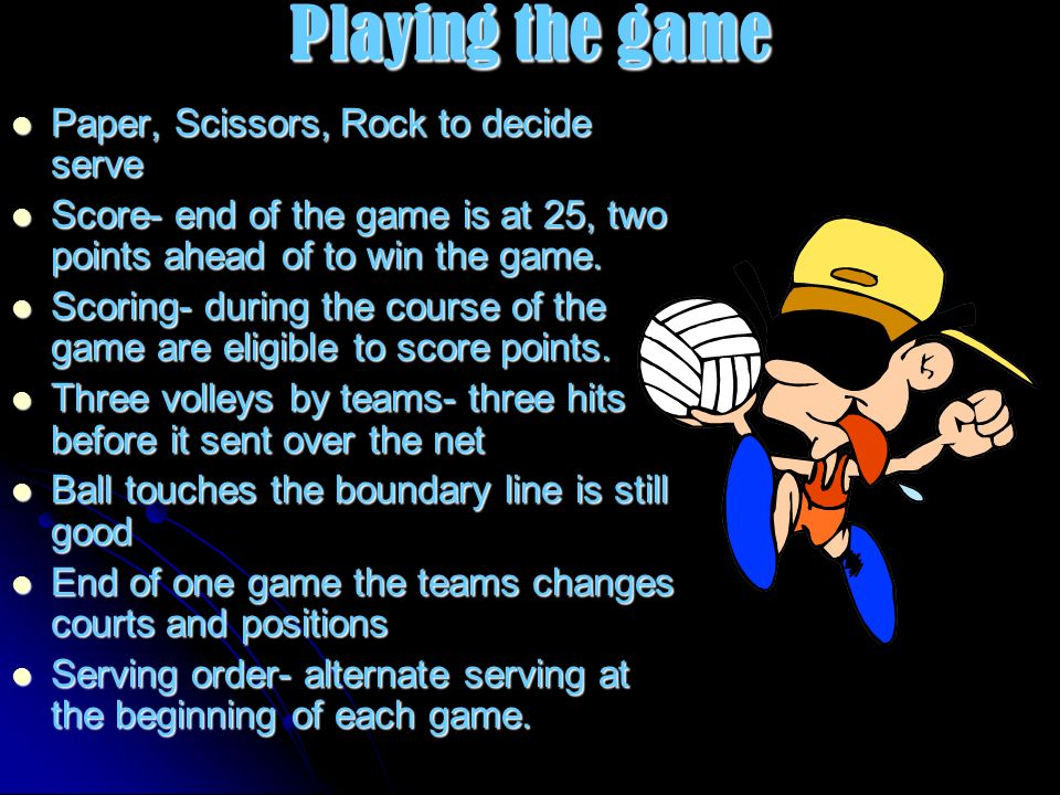 Playing the game Paper, Scissors, Rock to decide serve