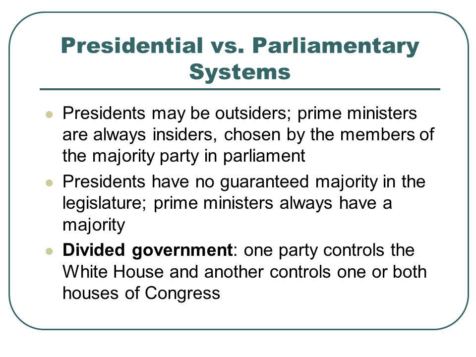 Presidential vs. Parliamentary Systems