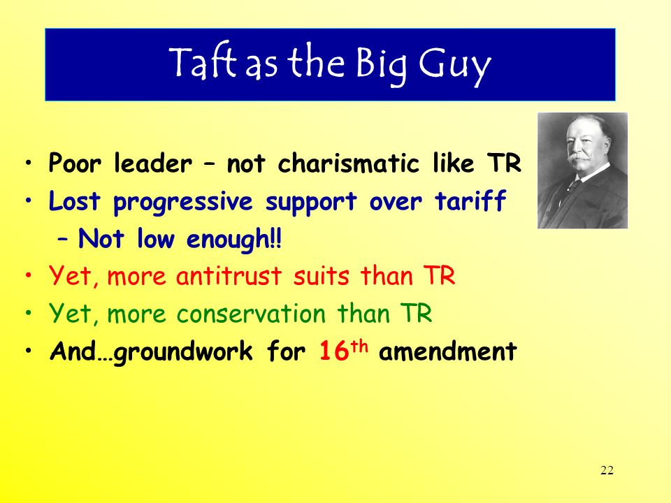 Taft as the Big Guy Poor leader – not charismatic like TR