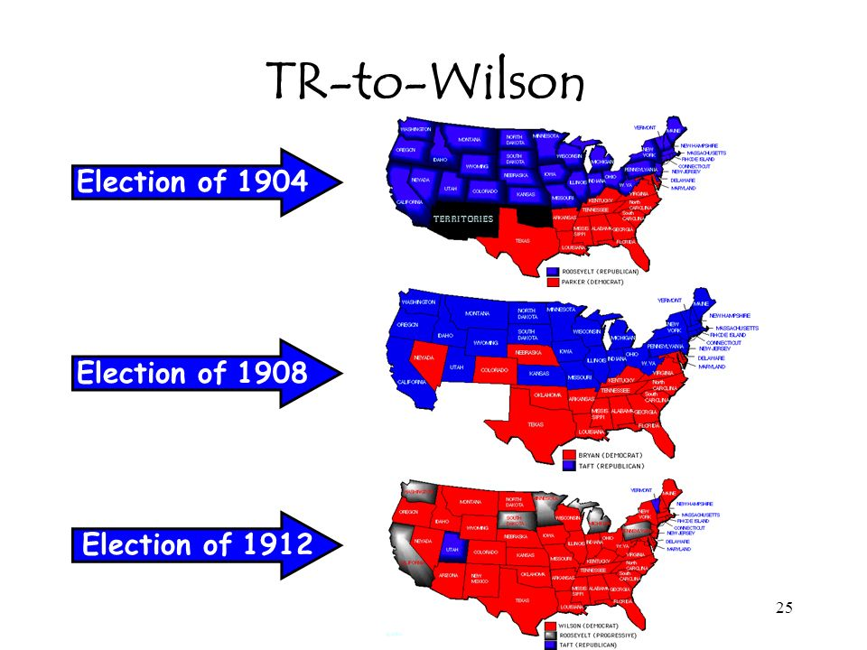 TR-to-Wilson Election of 1904 Election of 1908 Election of 1912