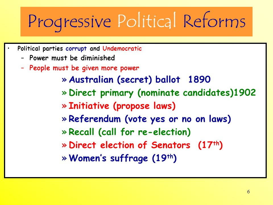 Progressive Political Reforms