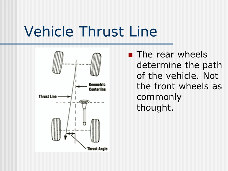 Vehicle Thrust Line The rear wheels determine the path of the vehicle.