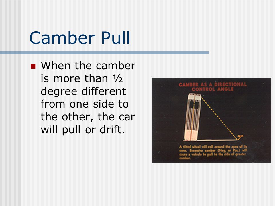 Camber Pull When the camber is more than ½ degree different from one side to the other, the car will pull or drift.