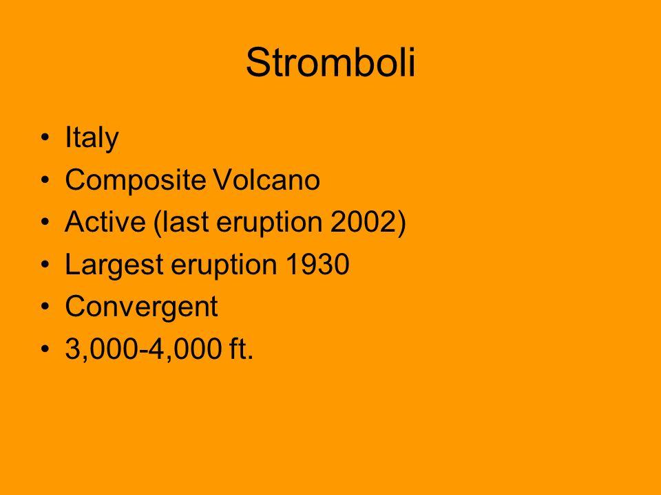 Stromboli Italy Composite Volcano Active (last eruption 2002)