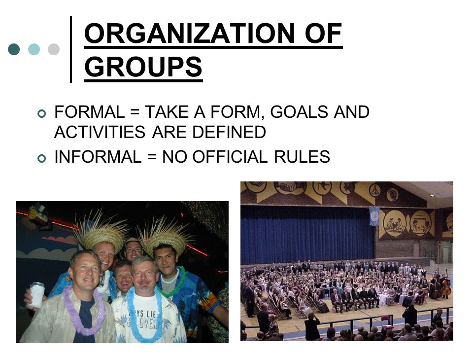 ORGANIZATION OF GROUPS