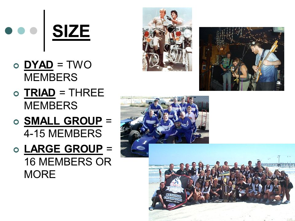 SIZE DYAD = TWO MEMBERS TRIAD = THREE MEMBERS