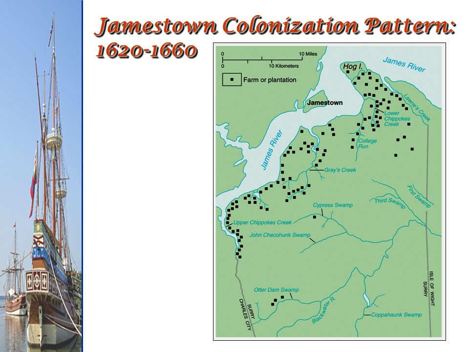 Jamestown Colonization Pattern: 1620-1660