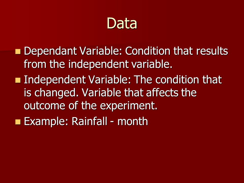Data Dependant Variable: Condition that results from the independent variable.