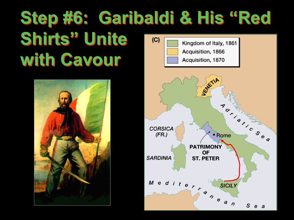 Step #6: Garibaldi & His Red Shirts Unite with Cavour