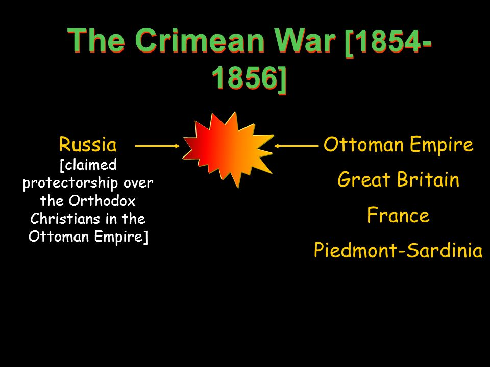 The Crimean War [ ] Russia [claimed protectorship over the Orthodox Christians in the Ottoman Empire]