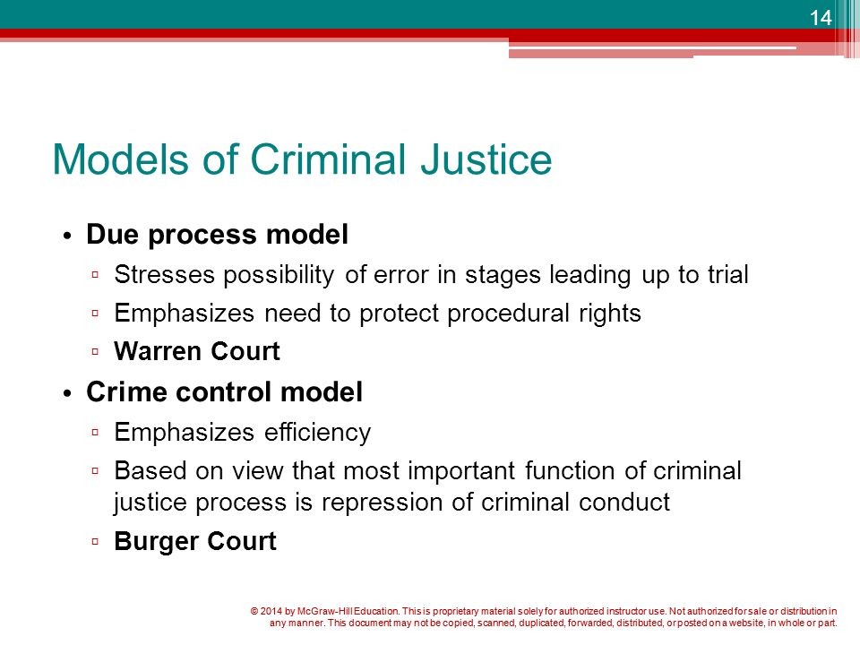 ideal model and the serviceable model in criminal justice Excerpt from herbert l packer, two models of the criminal inform the laws and institutions of criminal justice: the criminal process must, on this model, be.
