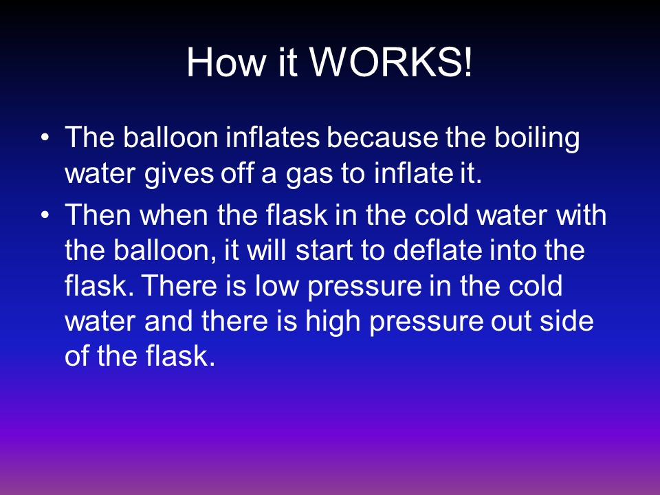 How it WORKS! The balloon inflates because the boiling water gives off a gas to inflate it.