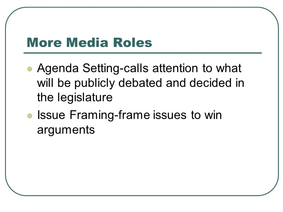 More Media Roles Agenda Setting-calls attention to what will be publicly debated and decided in the legislature.