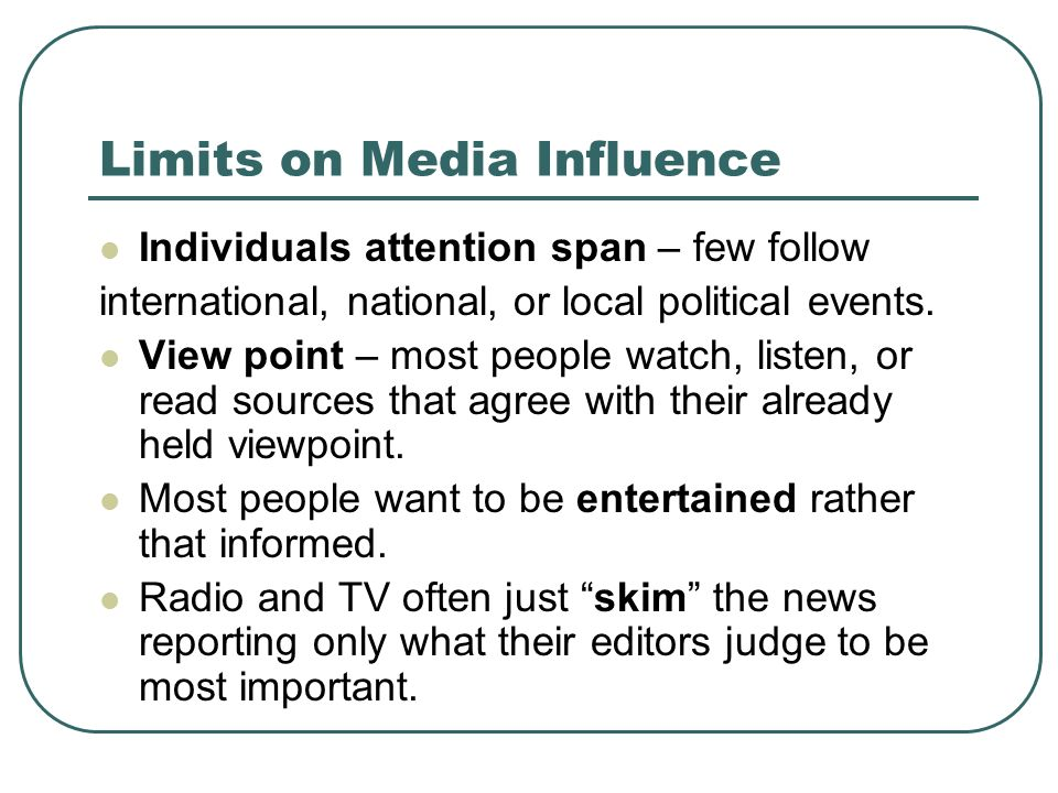 Limits on Media Influence