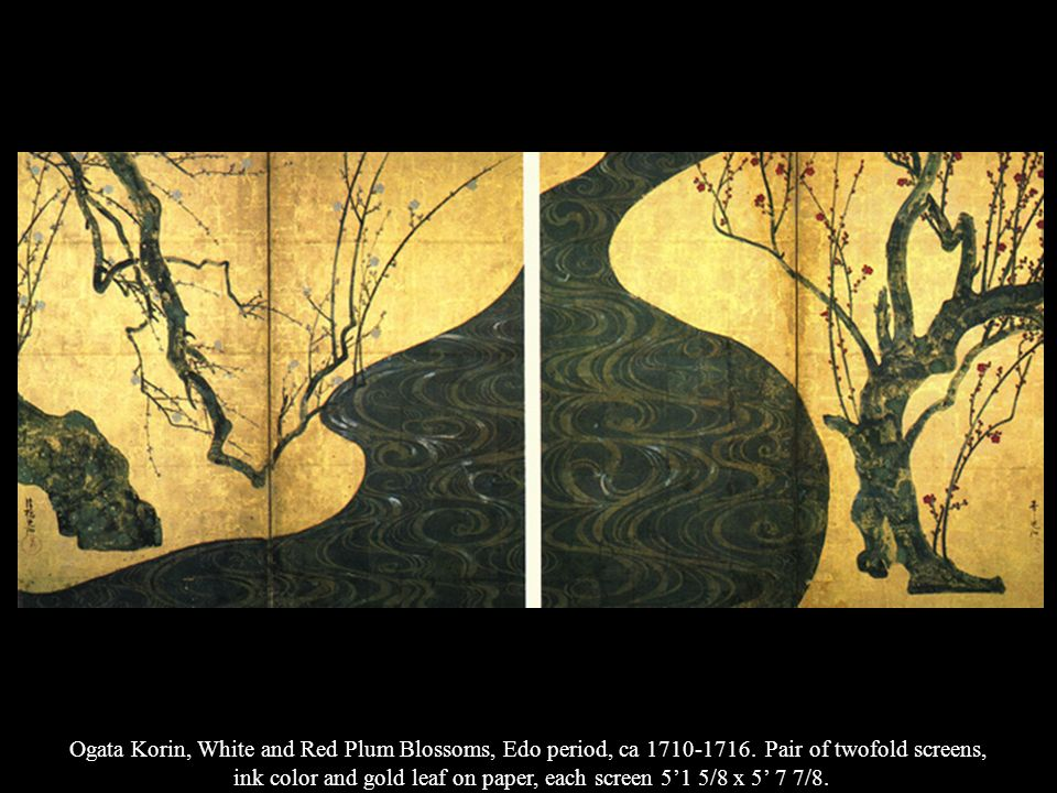 ink color and gold leaf on paper, each screen 5'1 5/8 x 5' 7 7/8.