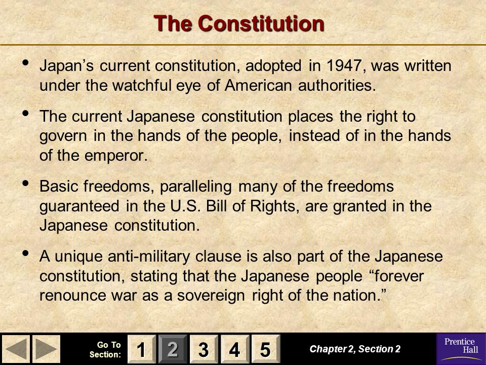 The Constitution Japan's current constitution, adopted in 1947, was written under the watchful eye of American authorities.