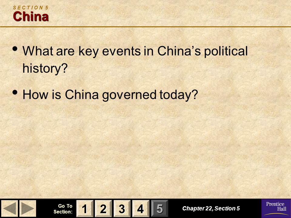 What are key events in China's political history