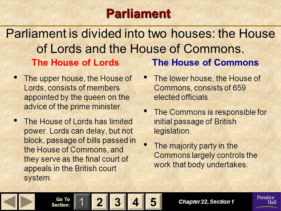 Parliament Parliament is divided into two houses: the House of Lords and the House of Commons. The House of Lords.