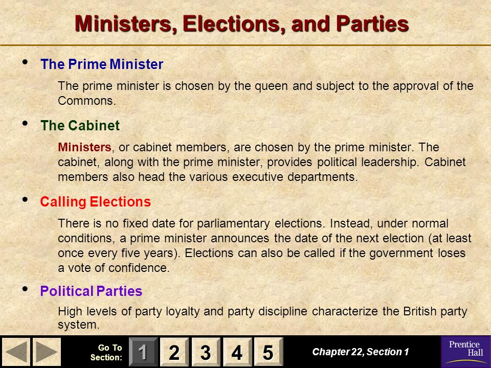 Ministers, Elections, and Parties