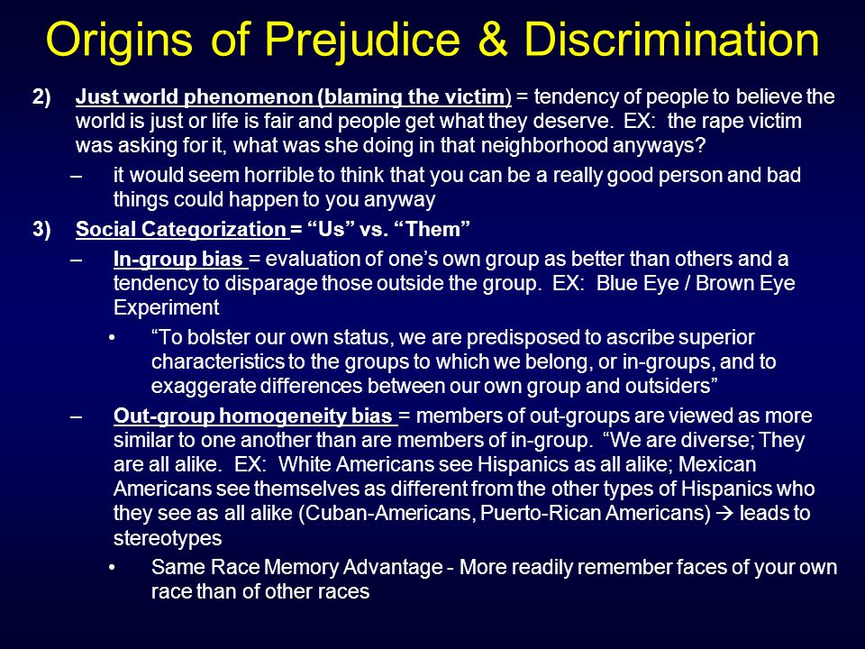 origins of prejudice Many researchers and sociologist broke down the origins of prejudice to four different theories: scapegoat theory, authoritarian personality theory, culture theory, and conflict theory the theory that best describes the origin of prejudice is the culture theory.