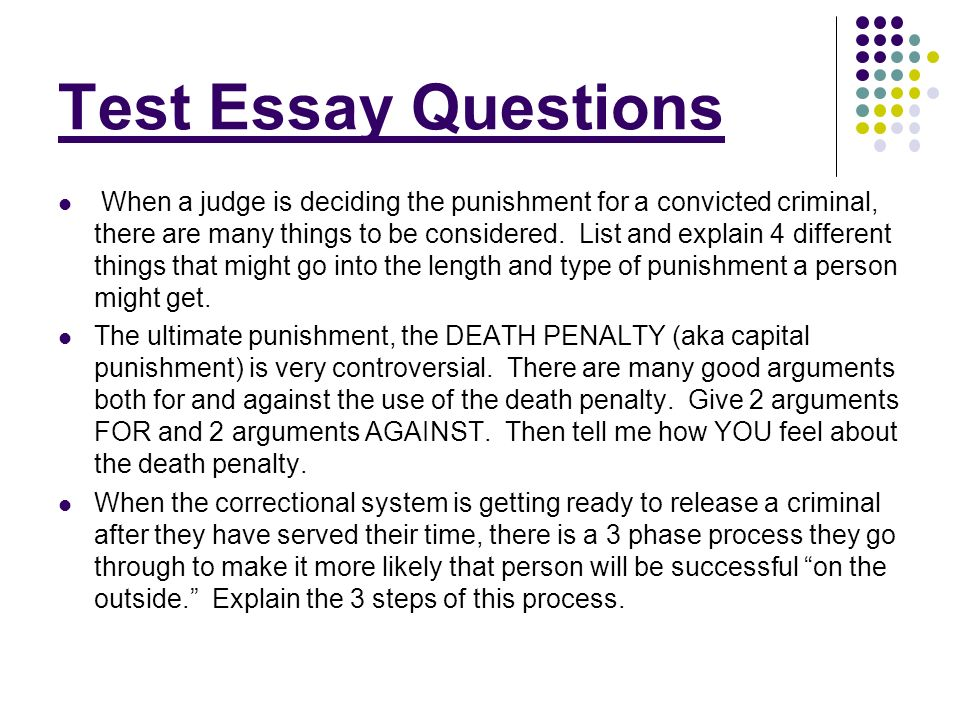 crime punishment essay questions Crime and punishment essays: over 180,000 crime and punishment essays, crime and punishment term papers, crime and punishment research paper, book reports 184 990 essays, term and research papers available for unlimited access.