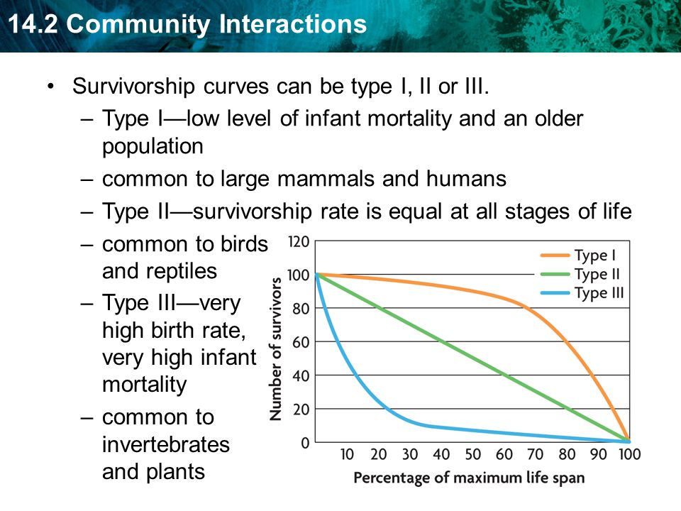 Survivorship curves can be type I, II or III.