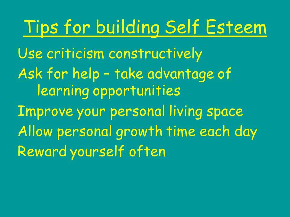 Tips for building Self Esteem