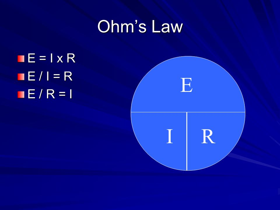 Ohm's Law E = I x R E / I = R E / R = I E I R